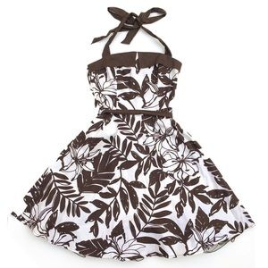 City Triangles Floral Brown White Halter Dress 3